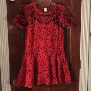Free People Red Lace Dress w Black detail
